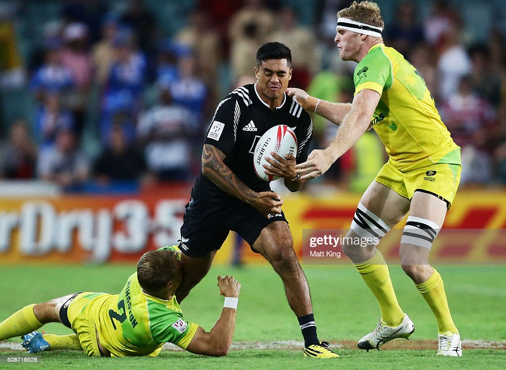 Regan Ware of New Zealand is tackled during the 2016 Sydney Sevens match between New Zealand and Australia at Allianz Stadium on February 6, 2016 in Sydney, Australia.