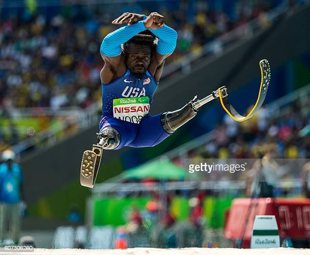 TOPSHOT Regas Woods of the USA competes in the men's long jump T42 final at the Olympic Stadium during the Paralympic Games in Rio de Janeiro Brazil...