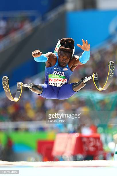 Regas Woods of United States competes in the Men's Long Jump T42 final during day 10 of the Rio 2016 Paralympic Games at the Olympic Stadium on...