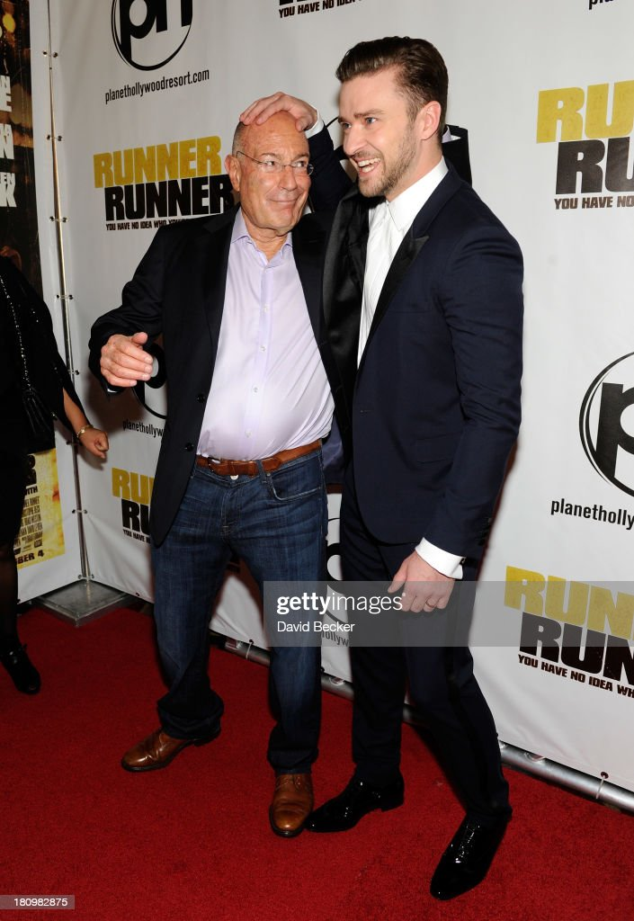 Regency Chairman Arnon Milchan and singer/actor Justin Timberlake arrive at the world premiere of Twentieth Century Fox and New Regency's film...