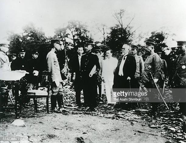 Regent Hirohito inspects the damage after the Great Kanto Earthquake at Ueno Park on September 15 1923 in Tokyo Japan The estimated Magnitude 79...