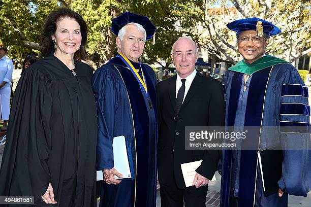 Regent Sherry Lansing UCLA Chancellor Gene Block philanthropist/entertainment mogul David Geffen and Vice Chancellor for UCLA Health Sciences and...
