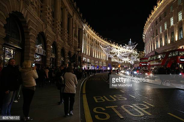 Regent Street as London's West End suffers mass power cut as stores offer discounted items in their 'Black Friday' sales on November 25 2016 in...