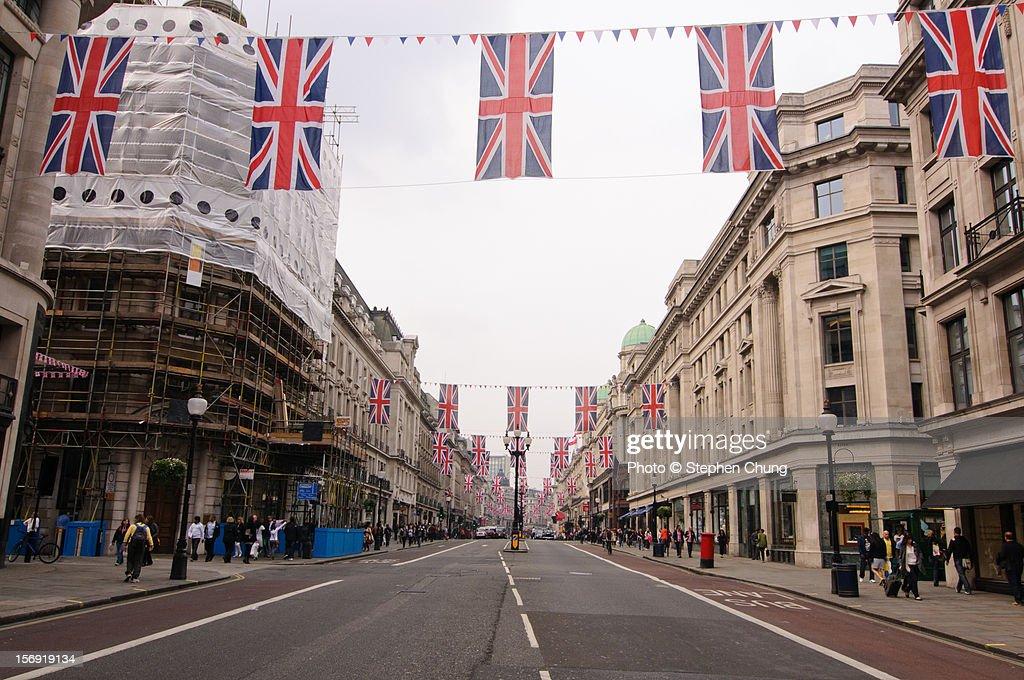 Regent Street, London decorated with Union Jacks