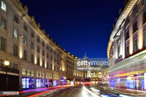 Regent street with traffic trails at twilight