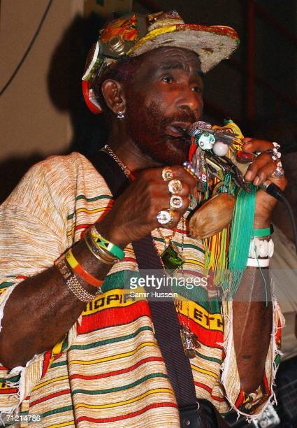 Reggae and dub icon Lee 'Scratch' Perry performs live at the Jazz Cafe on June 15 2006 in London England