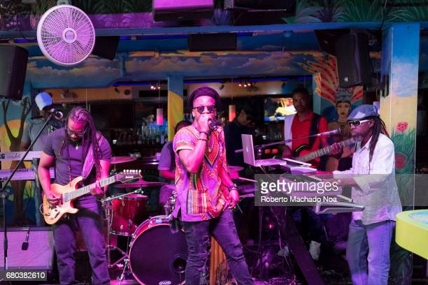 Reggae live music at Mango Tropical Cafe in South Beach Musical band playing for patrons in popular gastronomic establishment in Ocean Drive Miami