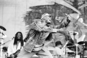 Reggae singer Jimmy Cliff performs at the New Orleans Jazz and Heritage Festival in April 2000 in New Orleans Louisiana