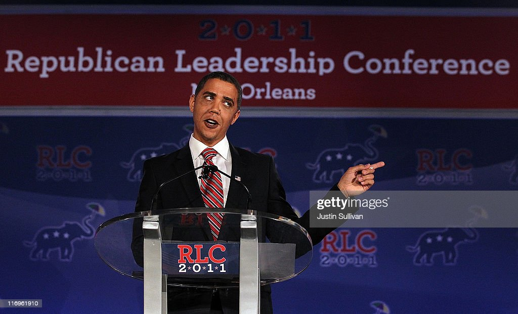 Reggie Brown impersonates U.S. President Barack Obama during a comedy sketch at the 2011 Republican Leadership Conference on June 18, 2011 in New Orleans, Louisiana. The 2011 Republican Leadership Conference features keynote addresses from most of the major republican candidates for president as well as numerous republican leaders from across the country.