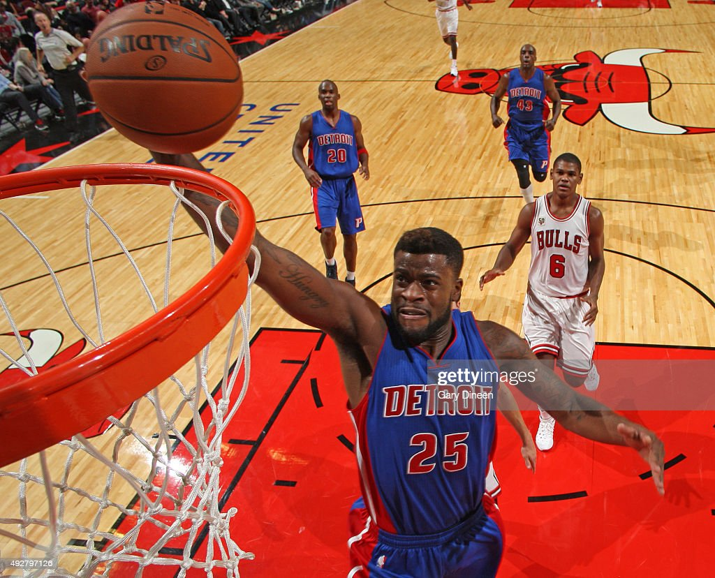 Reggie Bullock #25 of the Detroit Pistons dunks the ball against the Chicago Bulls during the preseason game on October 14, 2015 at United Center in Chicago, Illinois.