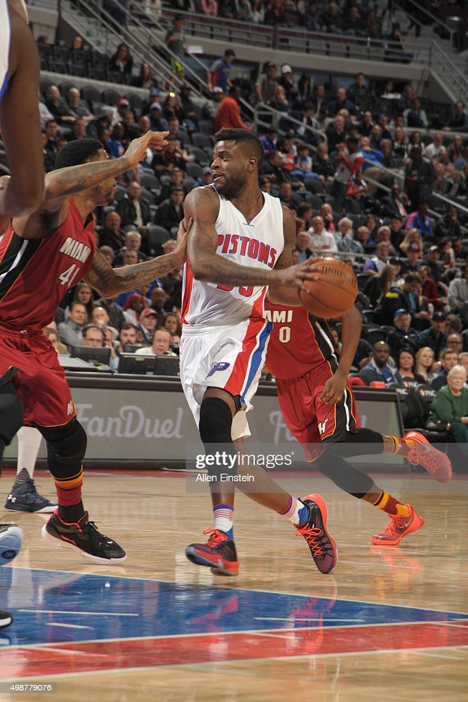 Reggie Bullock #25 of the Detroit Pistons handles the ball Miami Heat on November 25, 2015 at The Palace of Auburn Hills in Auburn Hills, Michigan.
