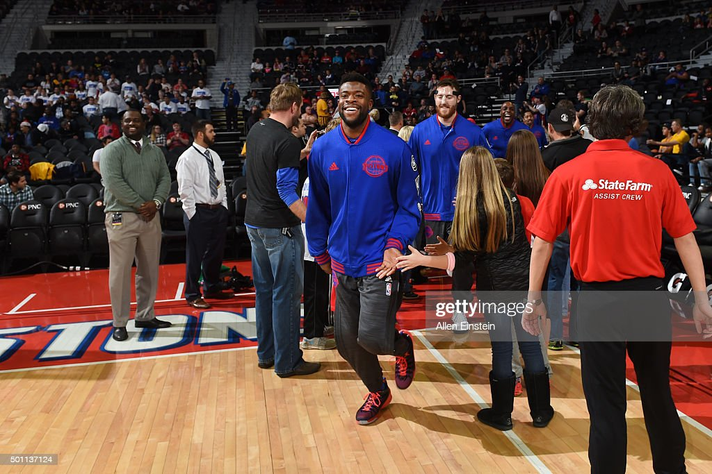 Reggie Bullock #25 of the Detroit Pistons is introduced before the game against the Indiana Pacers during the game on December 12, 2015 at The Palace of Auburn Hills in Auburn Hills, Michigan.