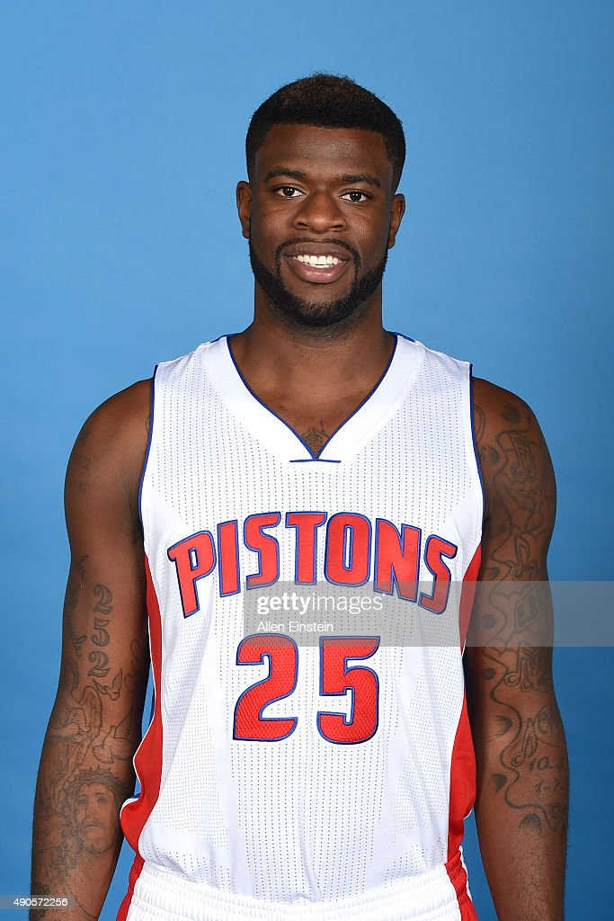 Reggie Bullock #25 of the Detroit Pistons poses for a portrait during media day on September 28, 2015 at The Palace of Auburn Hills in Auburn Hills, Michigan.