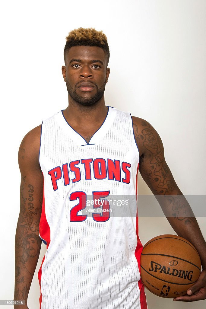 Reggie Bullock #25 of the Detroit Pistons poses for a portrait on July 12, 2015 at the Palace of Auburn Hills in Auburn Hills, Michigan.
