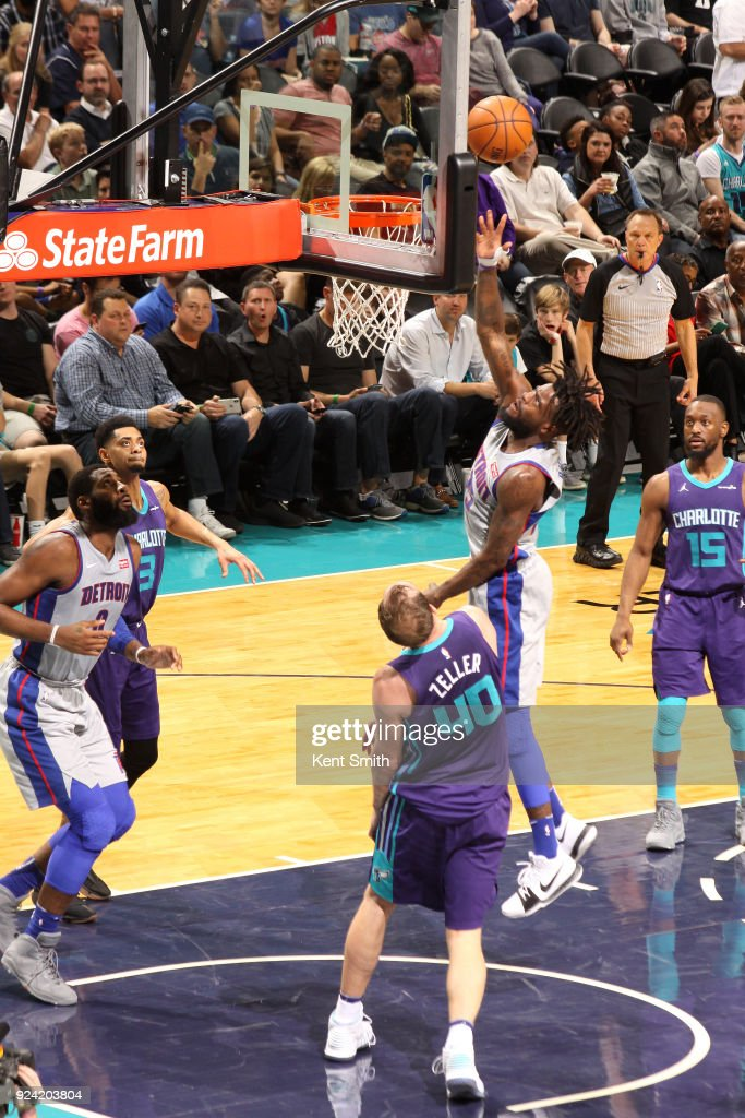 Reggie Bullock #25 of the Detroit Pistons shoots the ball against the Charlotte Hornets on February 25, 2017 at Spectrum Center in Charlotte, North Carolina.