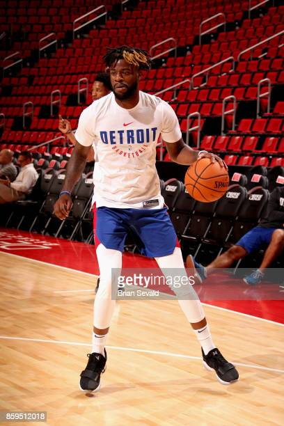 Reggie Bullock of the Detroit Pistons warms up before the game against the Indiana Pacers on October 9 2017 at Little Caesars Arena in Detroit...