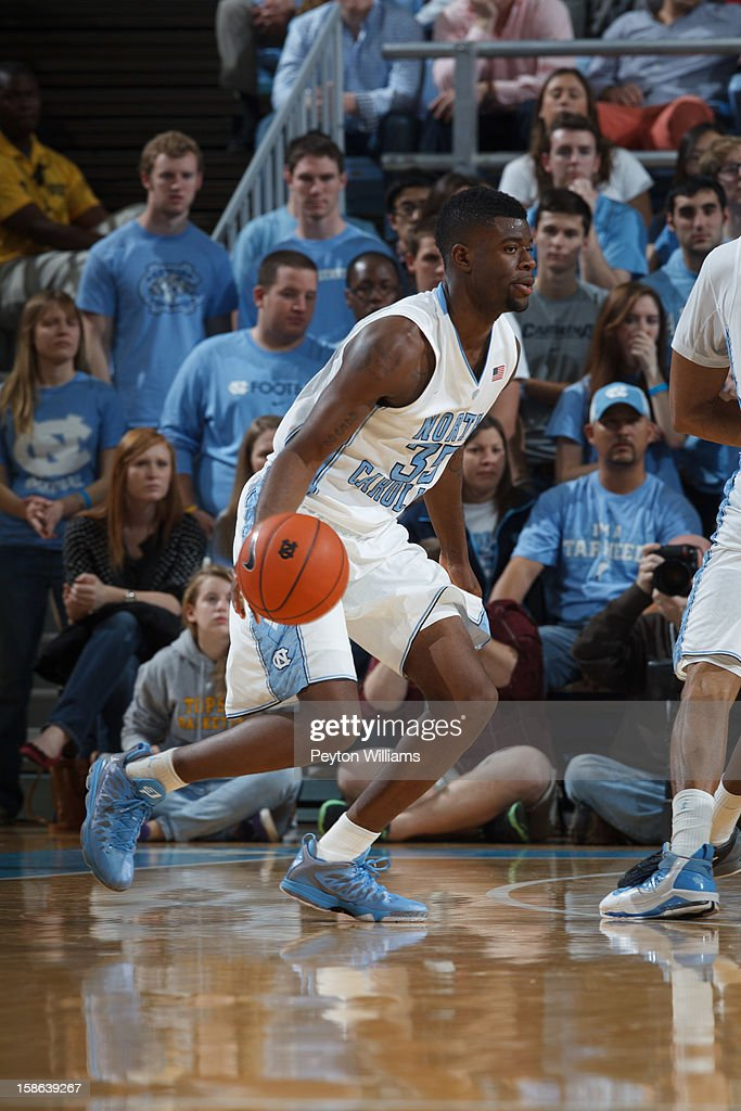 Reggie Bullock #35 of the North Carolina Tar Heels dribbles the ball during a game against the East Carolina Pirates on December 15, 2012 at the Dean E. Smith Center in Chapel Hill, North Carolina. North Carolina won 93-87.