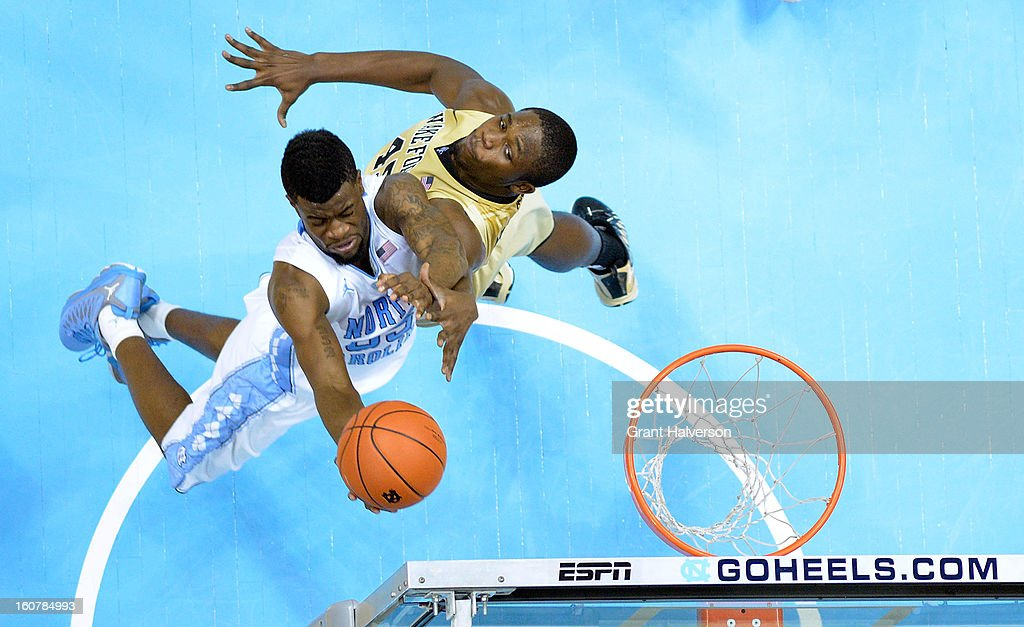 Reggie Bullock #35 of the North Carolina Tar Heels drives to the basket against Arnaud William Adala Moto #45 of the Wake Forest Demon Deacons during play at the Dean Smith Center on February 5, 2013 in Chapel Hill, North Carolina. North Carolina won 87-62.