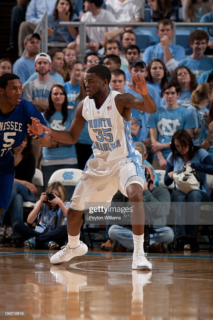 Reggie Bullock of the North Carolina Tar Heels guards during a game against the Tennessee State Tigers on November 22 2011 at the Dean E Smith Center...