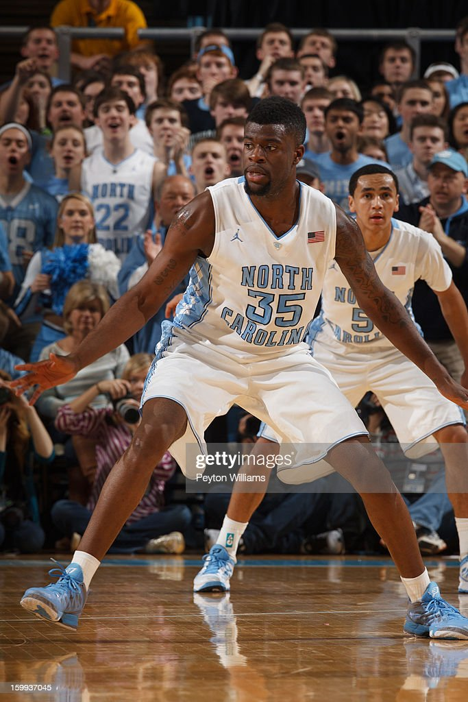 Reggie Bullock of the North Carolina Tar Heels guards during a game against the Maryland Terrapins on January 19 2013 at the Dean E Smith Center in...