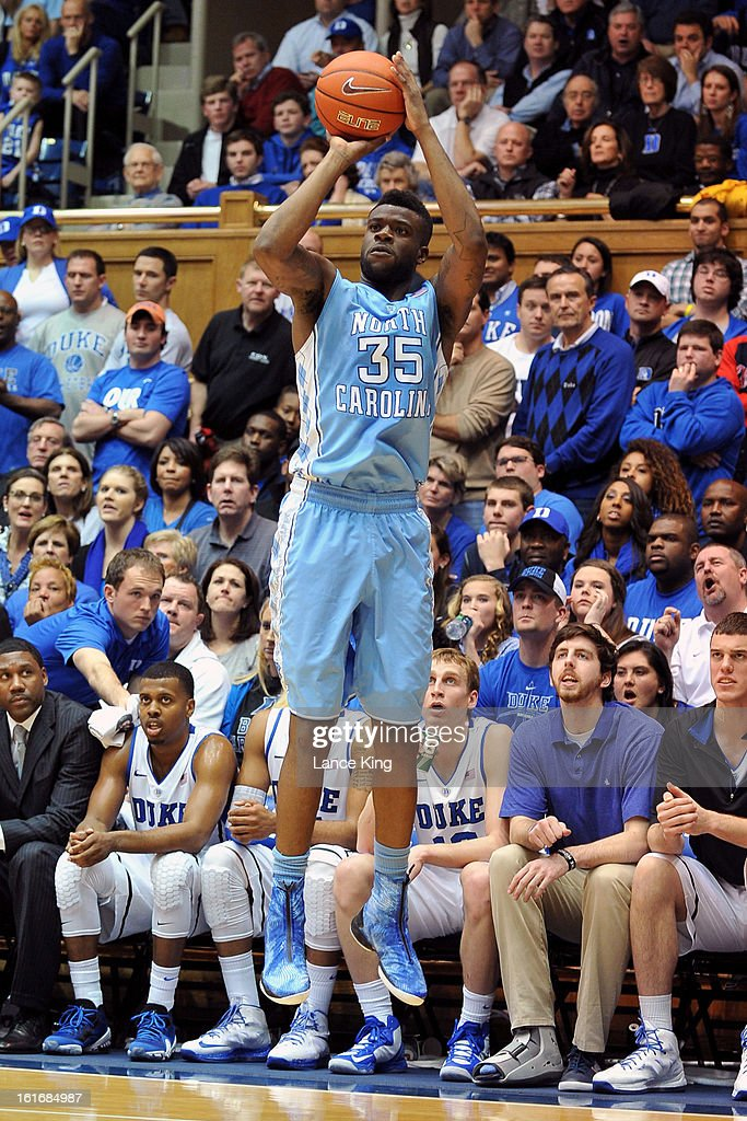Reggie Bullock #35 of the North Carolina Tar Heels puts up a shot against the Duke Blue Devils at Cameron Indoor Stadium on February 13, 2013 in Durham, North Carolina. Duke defeated North Carolina 73-68.