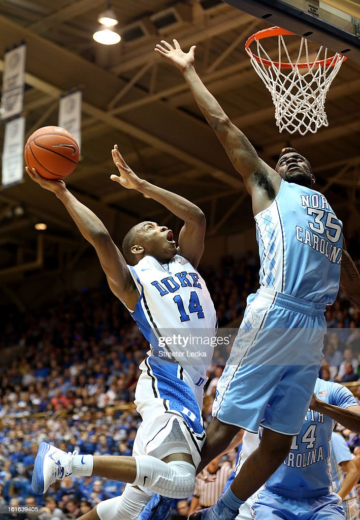 Reggie Bullock #35 of the North Carolina Tar Heels tries to stop <a gi-track='captionPersonalityLinkClicked' href=/galleries/search?phrase=Rasheed+Sulaimon&family=editorial&specificpeople=7887134 ng-click='$event.stopPropagation()'>Rasheed Sulaimon</a> #14 of the Duke Blue Devils during their game at Cameron Indoor Stadium on February 13, 2013 in Durham, North Carolina.
