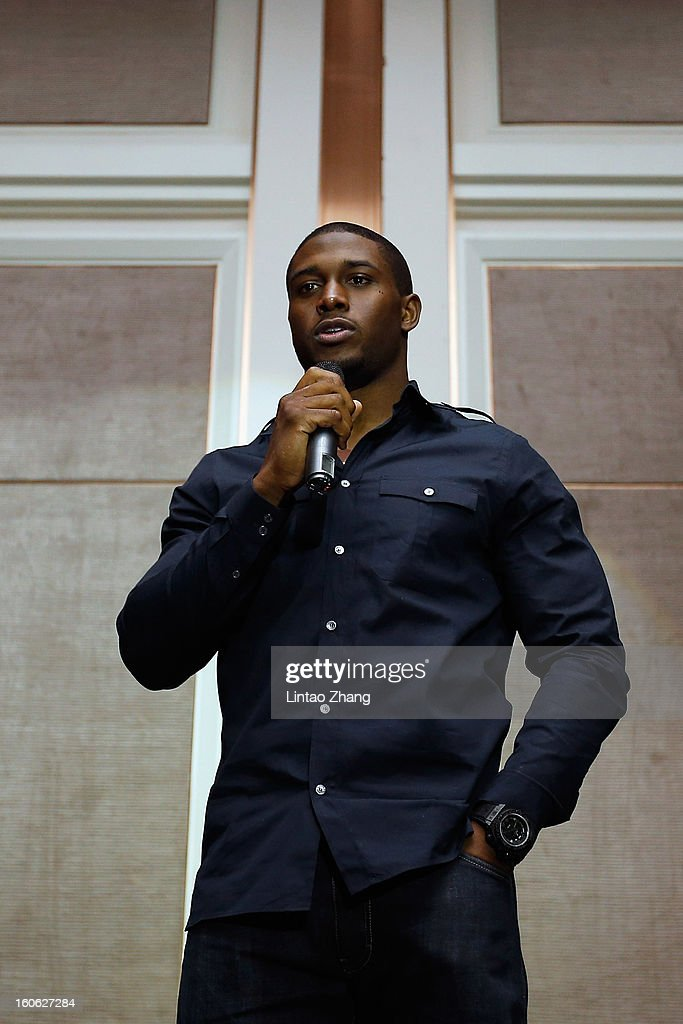 <a gi-track='captionPersonalityLinkClicked' href=/galleries/search?phrase=Reggie+Bush&family=editorial&specificpeople=183392 ng-click='$event.stopPropagation()'>Reggie Bush</a> of the Miami Dolphins, delivers a speech during the official NFL China Super Bowl Party at Kerry Hotel on February 4, 2013 in Beijing, China.