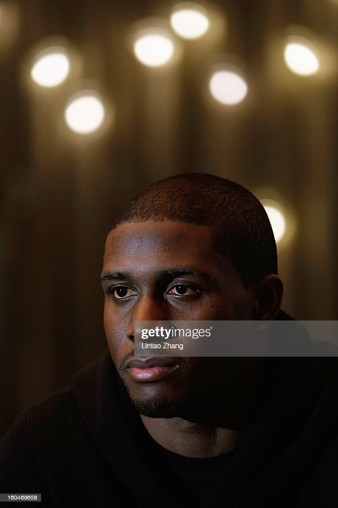 <a gi-track='captionPersonalityLinkClicked' href=/galleries/search?phrase=Reggie+Bush&family=editorial&specificpeople=183392 ng-click='$event.stopPropagation()'>Reggie Bush</a> of the Miami Dolphins looks on at Kerry Hotel on February 1, 2013 in Beijing, China.