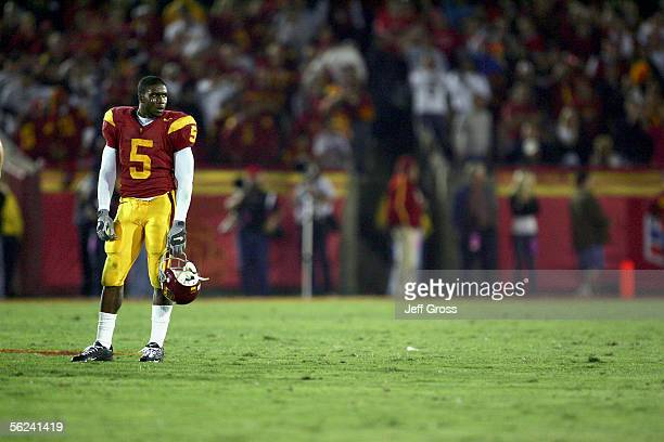 Reggie Bush of the USC Trojans stands on the field during the game with the Fresno State Bulldogs at the Los Angeles Memorial Coliseum on November 19...