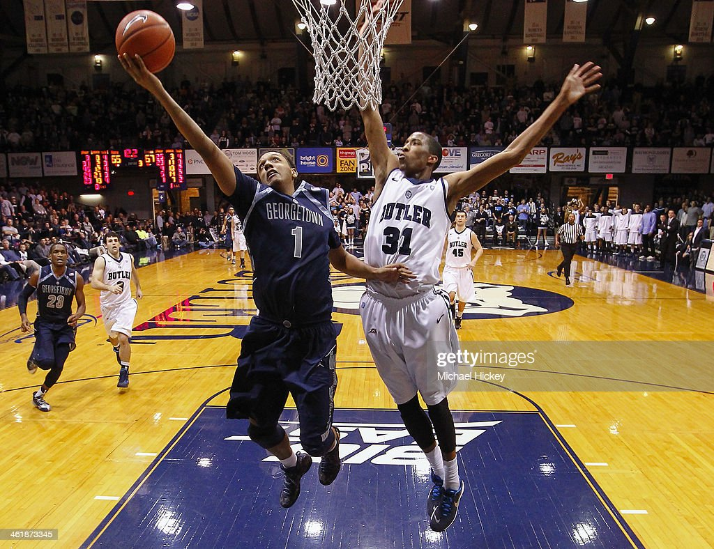 Reggie Cameron #1 of the Georgetown Hoyas shoots the ball against Kameron Woods #31 of the Butler Bulldogs at Hinkle Fieldhouse on January 11, 2014 in Indianapolis, Indiana. Georgetown defeated Butler 70-67.