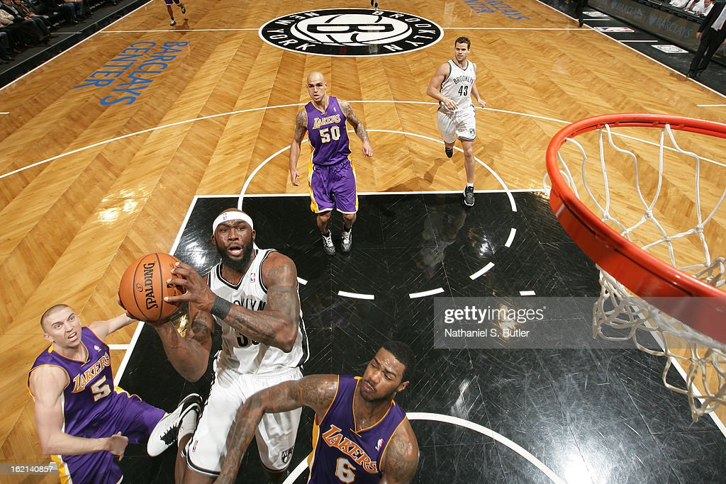 Reggie Evans #30 of the Brooklyn Nets drives to the basket against the Los Angeles Lakers on February 5, 2013 at the Barclays Center in the Brooklyn borough of New York City.