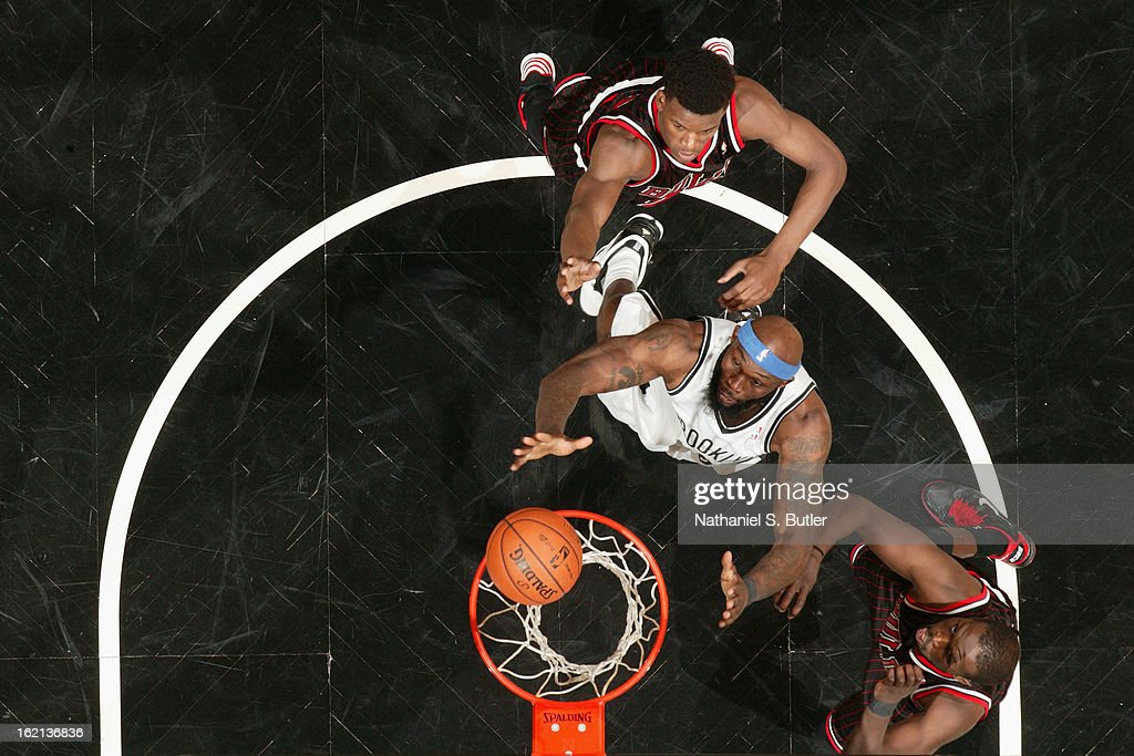 <a gi-track='captionPersonalityLinkClicked' href=/galleries/search?phrase=Reggie+Evans&family=editorial&specificpeople=202254 ng-click='$event.stopPropagation()'>Reggie Evans</a> #30 of the Brooklyn Nets goes up for a rebound against the Chicago Bulls on February 1, 2013 at the Barclays Center in the Brooklyn borough of New York City.