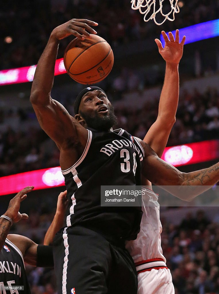 Reggie Evans #30 of the Brooklyn Nets rebounds against the Chicago Bulls in Game Six of the Eastern Conference Quarterfinals during the 2013 NBA Playoffs at the United Center on May 2, 2013 in Chicago, Illinois. The Nets defeated the Bulls 95-92.