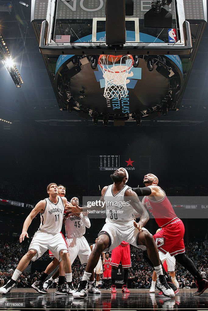 Reggie Evans #30 of the Brooklyn Nets waits for the rebound against the Chicago Bulls in Game Five of the Eastern Conference Quarterfinals during the 2013 NBA Playoffs on April 29 at the Barclays Center in the Brooklyn borough of New York City.