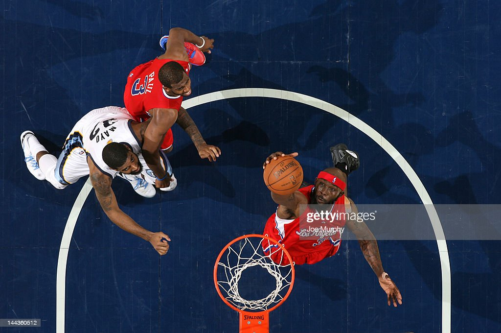 Reggie Evans #30 of the Los Angeles Clippers grabs a rebound against the Memphis Grizzlies in Game Seven of the Western Conference Quarterfinals during the 2012 NBA Playoffs on May 13, 2012 at FedExForum in Memphis, Tennessee.