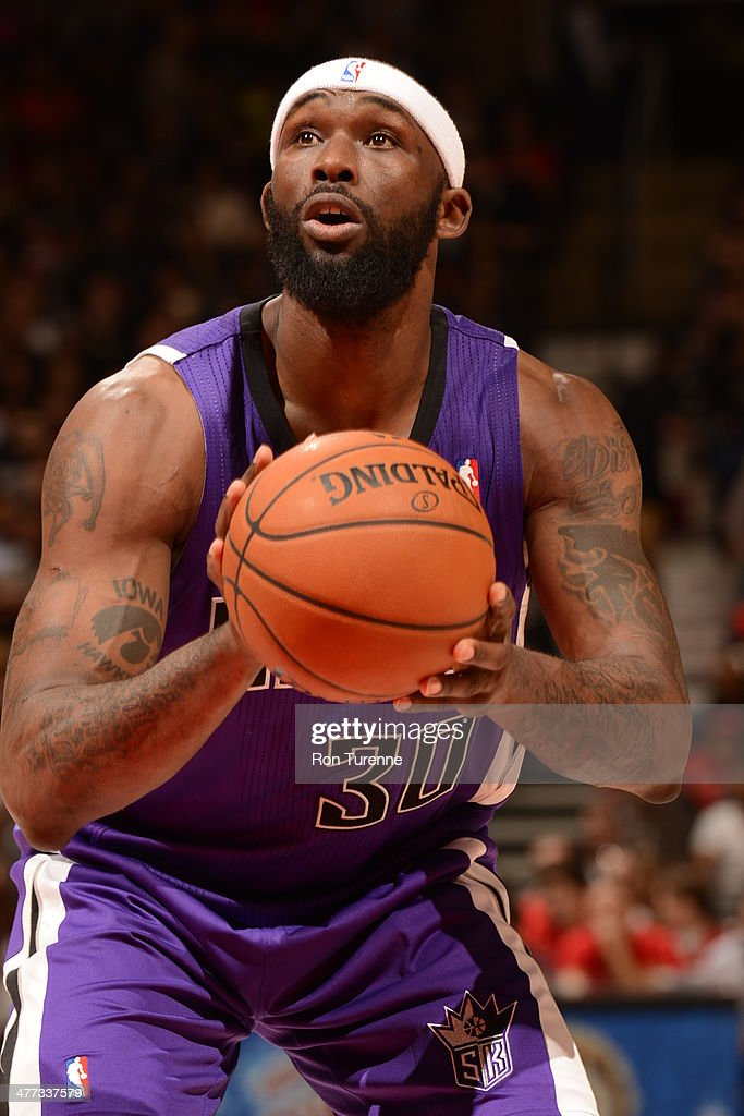 <a gi-track='captionPersonalityLinkClicked' href=/galleries/search?phrase=Reggie+Evans&family=editorial&specificpeople=202254 ng-click='$event.stopPropagation()'>Reggie Evans</a> #30 of the Sacramento Kings attempts a free throw against the Toronto Raptors on March 7, 2014 at the Air Canada Centre in Toronto, Ontario, Canada.