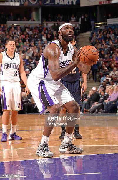 Reggie Evans of the Sacramento Kings attempts a free throw shot against the New Orleans Pelicans at Sleep Train Arena on March 3 2014 in Sacramento...
