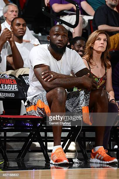 Reggie Evans of the Sacramento Kings attends a game between the Sacramento Kings and the San Antonio Spurs at the Samsung NBA Summer League 2014 on...