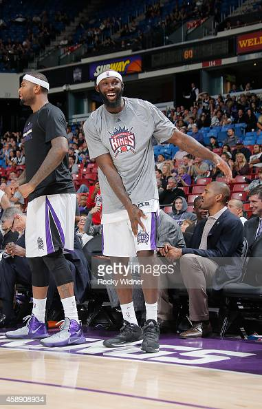 Reggie Evans of the Sacramento Kings celebrates against the Denver Nuggets on November 5 2014 at Sleep Train Arena in Sacramento California NOTE TO...