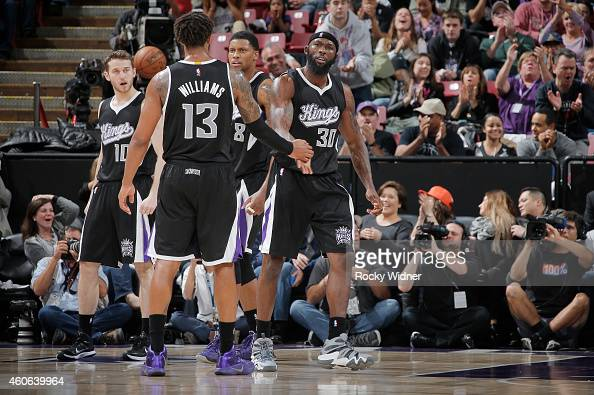 Reggie Evans of the Sacramento Kings celebrates against the Oklahoma City Thunder on December 16 2014 at Sleep Train Arena in Sacramento California...