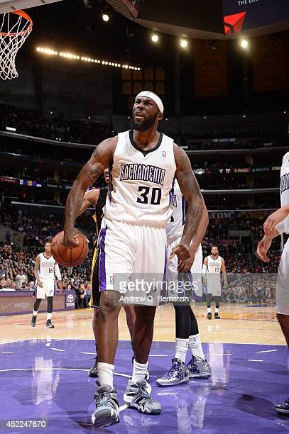 Reggie Evans of the Sacramento Kings celebrates during the game against the Los Angeles Lakers at Staples Center on February 28 2014 in Los Angeles...