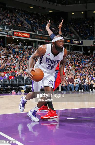 Reggie Evans of the Sacramento Kings drives against the Washington Wizards on March 22 2015 at Sleep Train Arena in Sacramento California NOTE TO...