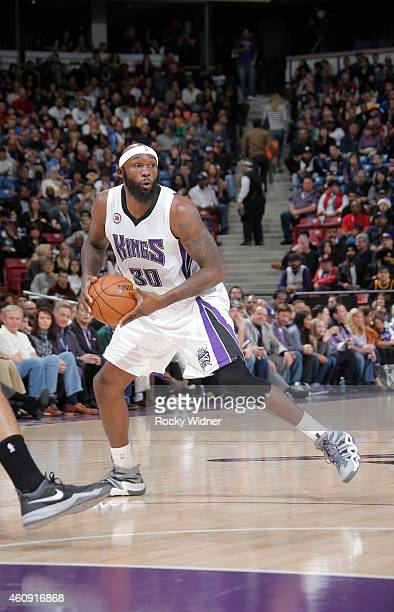 Reggie Evans of the Sacramento Kings handles the ball against the Los Angeles Lakers on December 21 2014 at Sleep Train Arena in Sacramento...