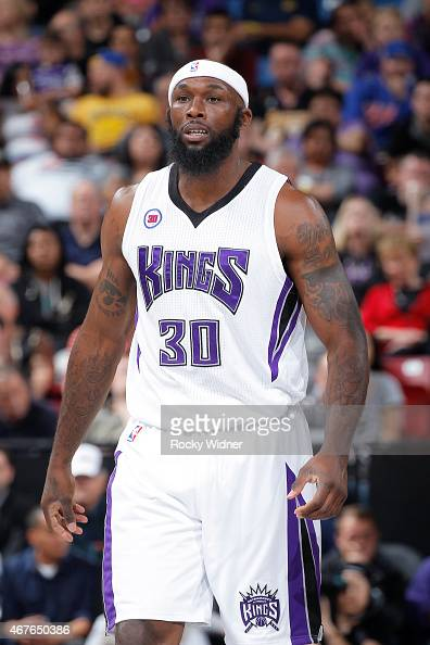 Reggie Evans of the Sacramento Kings looks on during the game against the Washington Wizards on March 22 2015 at Sleep Train Arena in Sacramento...