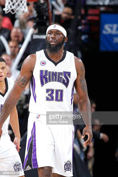 Reggie Evans of the Sacramento Kings looks on during the game against the Minnesota Timberwolves on April 7 2015 at Sleep Train Arena in Sacramento...