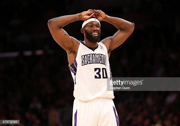 Reggie Evans of the Sacramento Kings reacts during the game with the Los Angeles Lakers at Staples Center on February 28 2014 in Los Angeles...