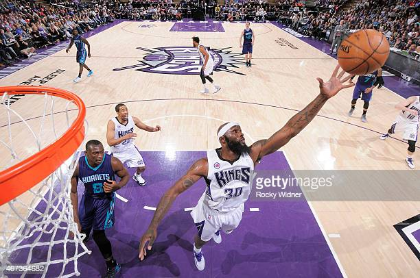 Reggie Evans of the Sacramento Kings rebounds against the Charlotte Hornets on March 20 2015 at Sleep Train Arena in Sacramento California NOTE TO...