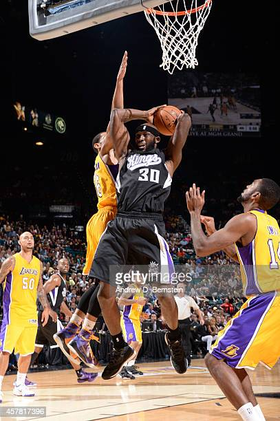 Reggie Evans of the Sacramento Kings rebounds the basketball during a game against the Los Angeles Lakers on October 24 2014 at the MGM Grand Garden...