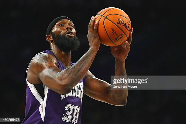 Reggie Evans of the Sacramento Kings shoots a free throw during a game against the Los Angeles Lakers at Staples Center on December 9 2014 in Los...