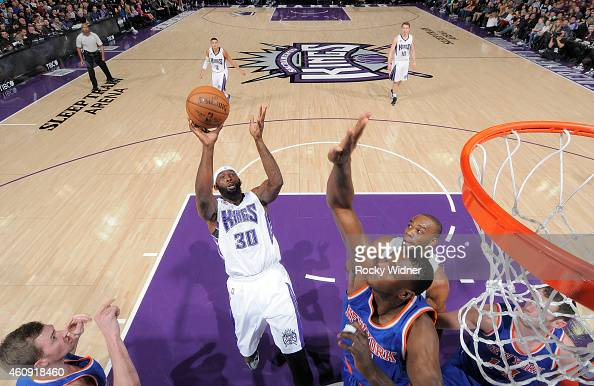 Reggie Evans of the Sacramento Kings shoots against New York Knicks on December 27 2014 at Sleep Train Arena in Sacramento California NOTE TO USER...